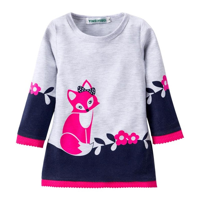 Christmas Girls Dress 2017 Winter Vestido Infant Long Sleeve Kids Clothes Cotton Fox Dresses For Girls Costume Children Clothing - KiddyLanes