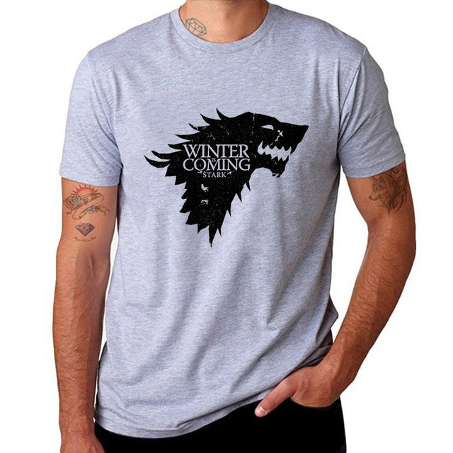 Game Of Thrones Print Winter Is Coming Stark Blood Wolf Men T Shirt Casual