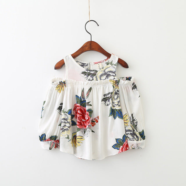 School Girls Blouse Shirts vintage floral Kids cotton shoulderless Blouses breathable Children tops 2-7y baby Clothes - KiddyLanes