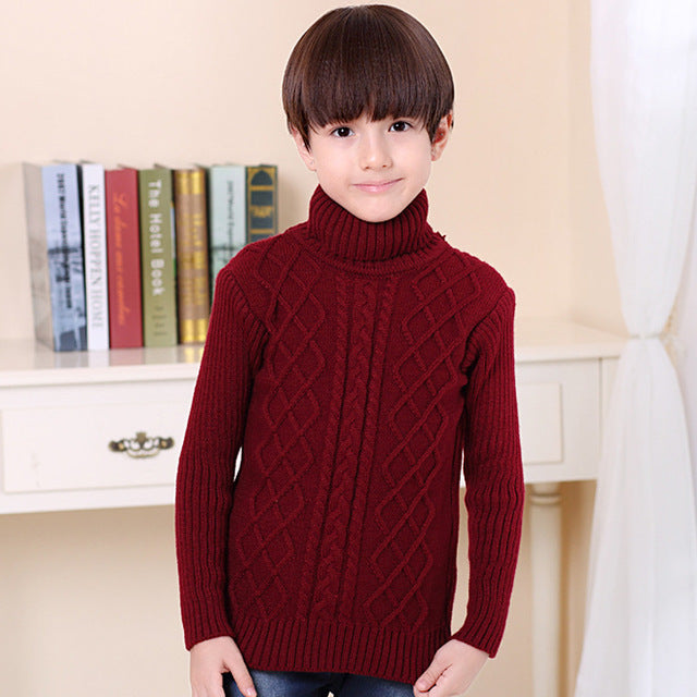 UNINICE Infant Baby Sweater Winter Warm Children Sweater For Boys Girls Knitted Turtleneck Pullover Kids Thicken Sweater 2-12 Y - KiddyLanes