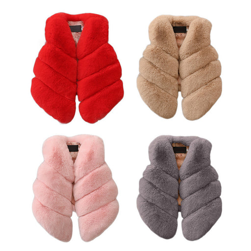 Kids Girls Artificial Fur Vest Coats Winter Warm Waistcoat Children Sleeveless Jacket Outerwear Clothing For 1-7 Years Child - KiddyLanes
