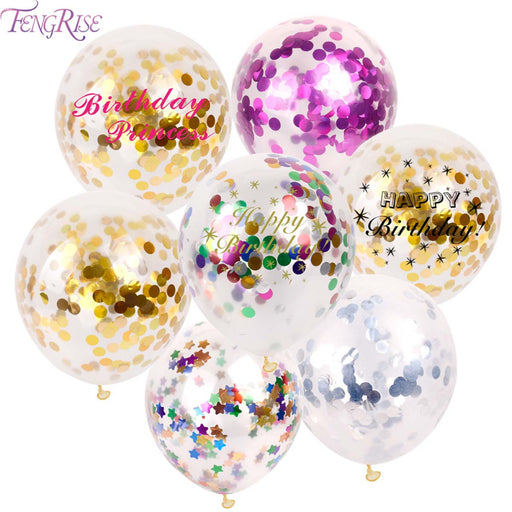 FENGRISE 10pc 12inch 30cm Clear Confetti Balloon Latex Confetti Ballon Wedding Decoration Happy Birthday Balloons Party Supplies - KiddyLanes