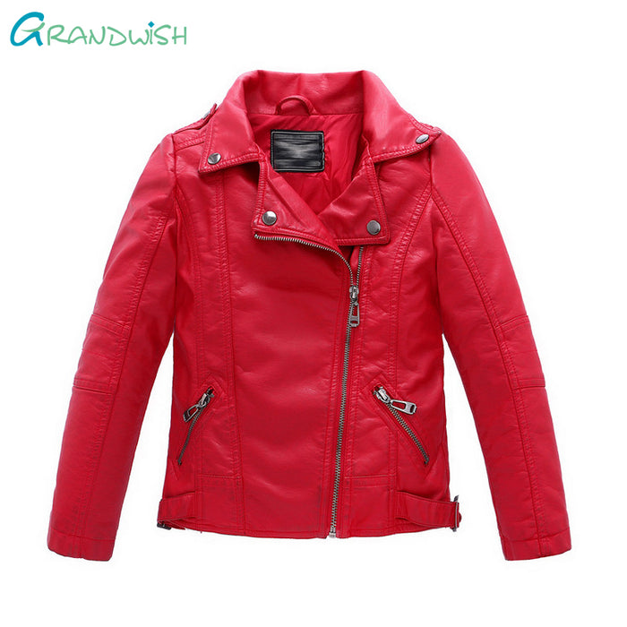 Grandwish New Kids Jackets Kids PU Leather Jacket Boys and Girls Leather Coat Children Outerwear Leather Jacket 3T-14T, SC061 - KiddyLanes