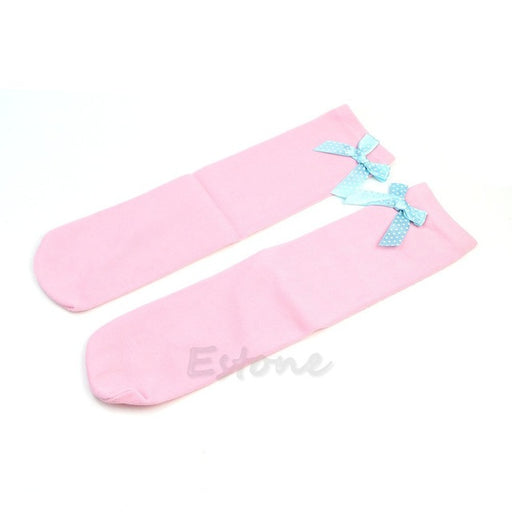 Details about  1Pair KidsToddler Girls Princess Knee High Socks Stockings Bowknot New - KiddyLanes
