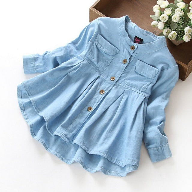 New Spring Fashion Kids Girls Demin Shirts Soft Fabric Long Sleeve Shirt Children Clothing - KiddyLanes