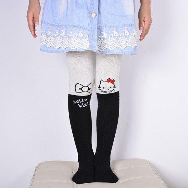 Spring Autumn Girls Tights Cartoon Cat Baby Tights For Girls Pantyhose Fashion Knitted Cotton Cute kids Stocking Baby Pantyhose - KiddyLanes