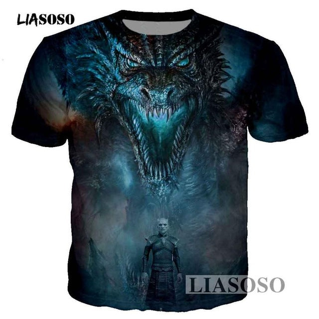 Game of Thrones Dragon Playing Fire 3D Printed Men/Women T-shirt casual men