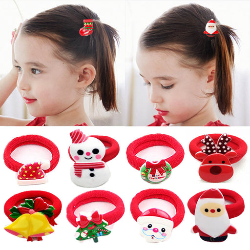 2PCS/Pair Fashion Girls Popular Christmas Hair rope Tree Santa Bell Snowman Kids Elastic Hair band Lovely Hair Accessories - KiddyLanes