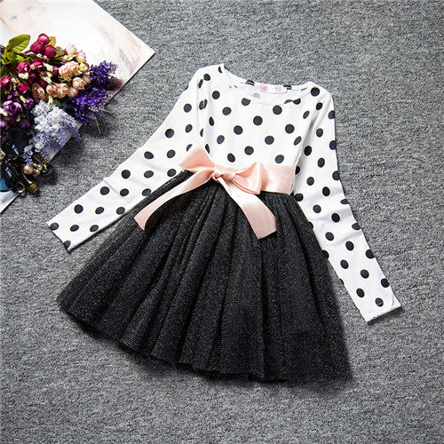 Winter Baby Dress For Girl Long Sleeve Princess Girls Dresses Polka Dot Little Baby Birthday Party Dress Casual Kids Clothes - KiddyLanes