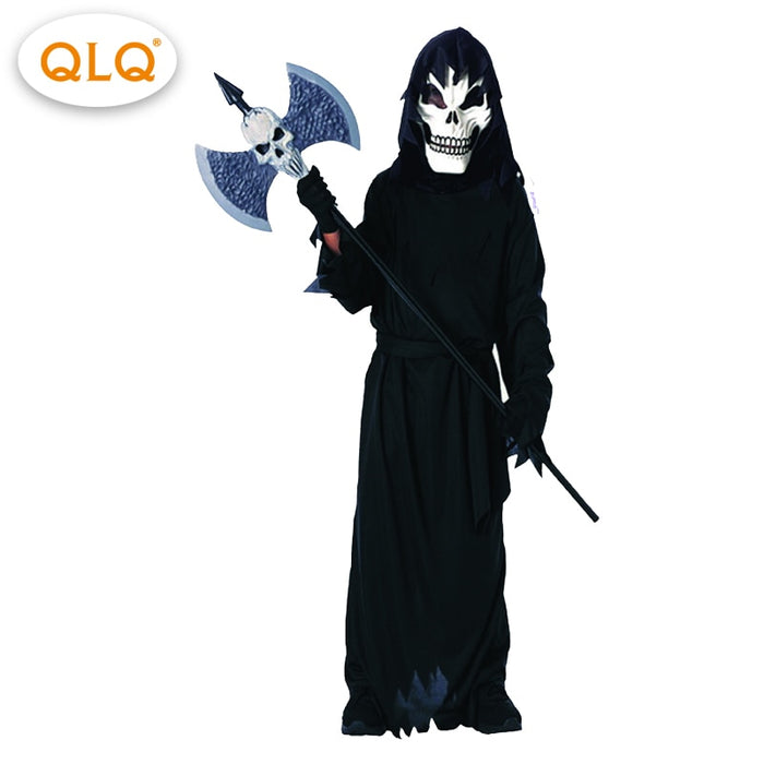 Black Robe Skeleton Hooded Cloak Coat Ghost Halloween Costumes kids boy  Evil Scary Halloween Party  Ghost cosplay Costumes