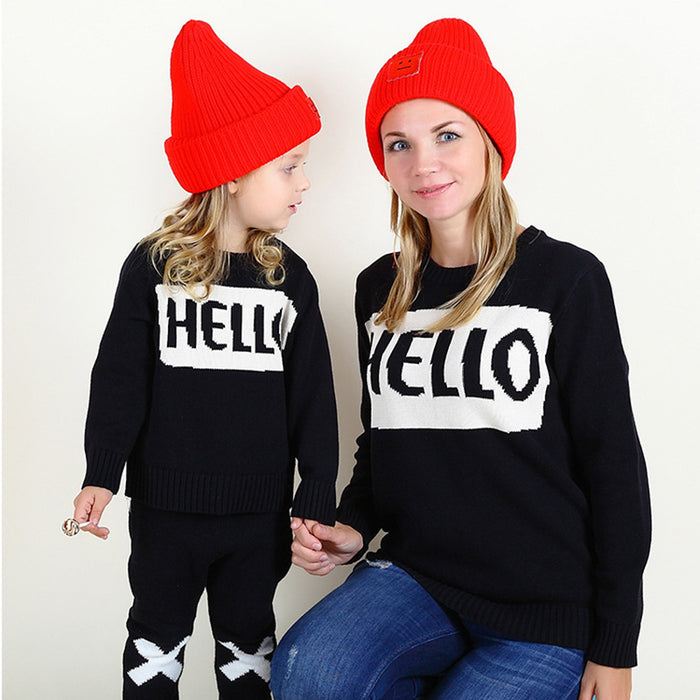 Clouds Rain Pullovers Cotton Sweater Mother And Daughter Family Matching Clothes Outfits Autumn Winter