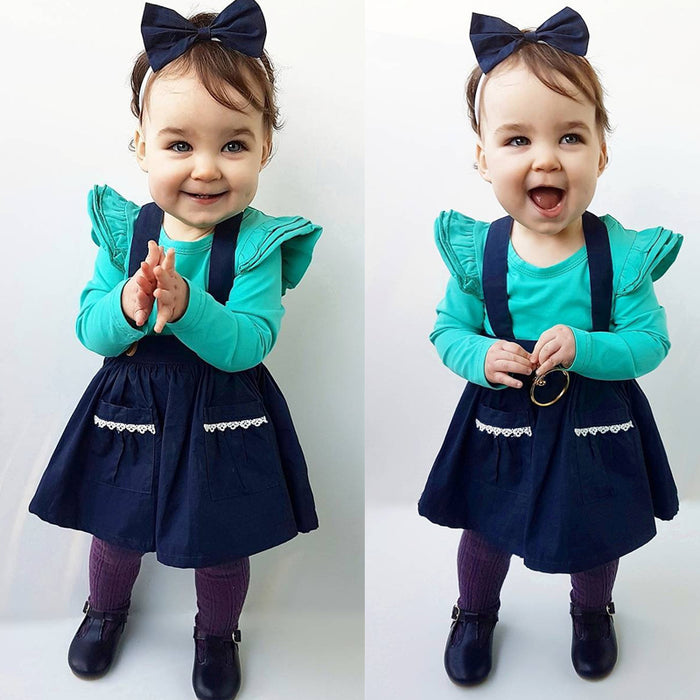 Baby Girl Bib Strap Skirt | Babies Girls Sleeveless Braces Above Knee Skirt