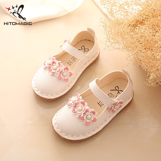 Fancy Handmade Upper Based Designer Shoes for Baby Girls | Casual Moccasins Pattern Shoes with Funky Pink Flowers - KiddyLanes