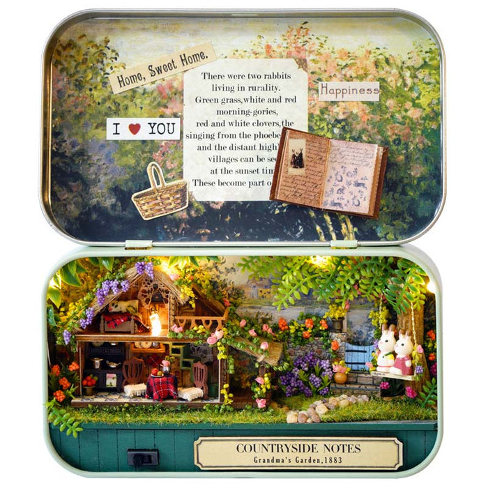 Funny Countryside Notes 3D Wooden DIY Handmade Box Theatre Dollhouse Miniature Box Cute Mini Doll House Assemble Kits Gift Toys