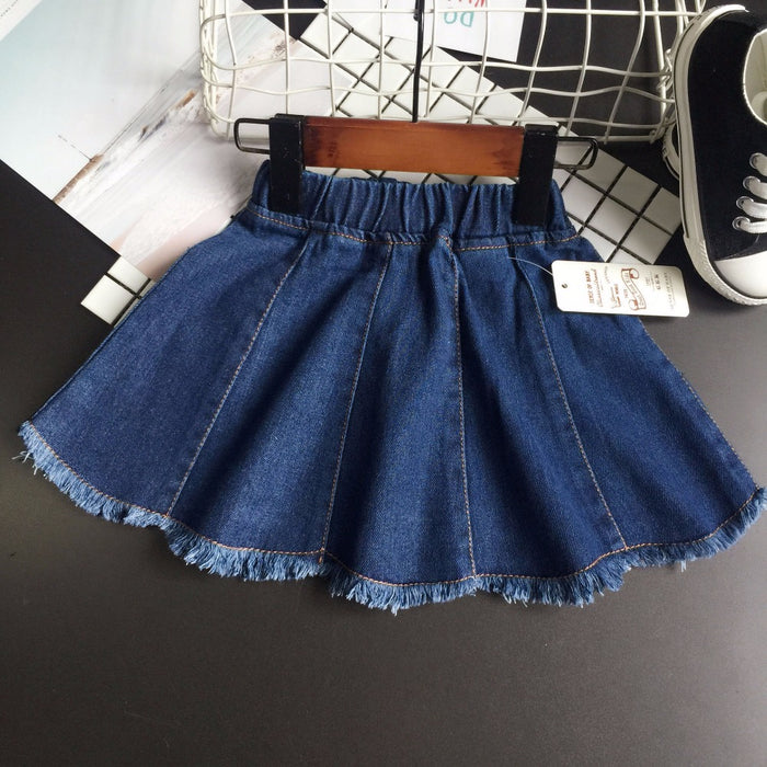 Spring girls skirts kids denim blue all matched skirt toddler casual jean tassel clothes children faldas for girl 2-7T - KiddyLanes
