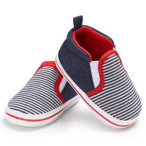 0-18M Baby Boys Shoes Soft Sole Sneakers Crib Pram Shoes Striped Toddler Boy Girl Pre Walkers Baby Casual Shoes - KiddyLanes