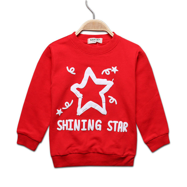 2017 Spring Baby long sleeve t-shirt for boys letter star pattern girls shirts kids children clothing tops tees autumn 7-24M - KiddyLanes