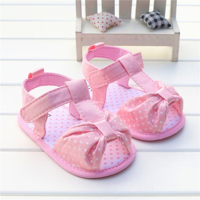 3f6a2926b Navy Blue Bowknot Baby Girl Shoes Summer Sandals Polka Dots Bow Soft Sole Baby  Girl Sandals