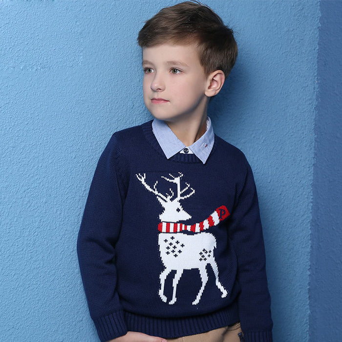Autumn Winter New Kids Cartoon Christmas deer Sweater Coat Children Clothing Baby Cotton thick wool top Boys Girls Pullover - KiddyLanes