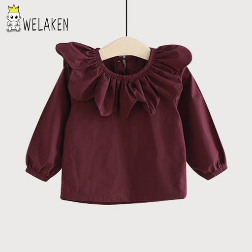 weLaken New Spring Long Sleeve Shirts Fashion Solid Kids Tops Petal Lapel Baby Girls Clothes Children Outfits Girls Blouses - KiddyLanes
