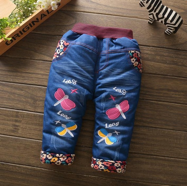 Baby Girl Winter Pants Denim Pants For Girl Thick Denim  Trousers for Kids /Thermal Jeans - KiddyLanes