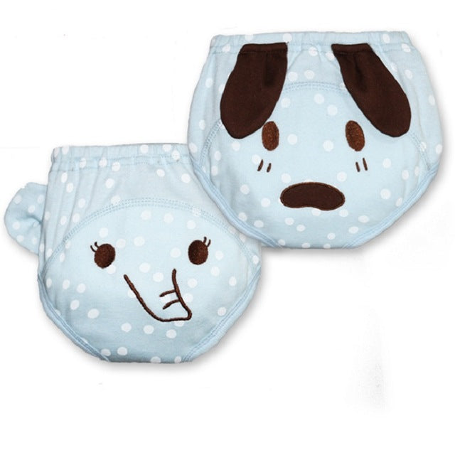 2 Pcs / Lot Washable 0-2 Years Baby Panties Diaper Cover Waterproof Cartoon Napkin Infant Underwear Reusable Nappy Child Brief - KiddyLanes