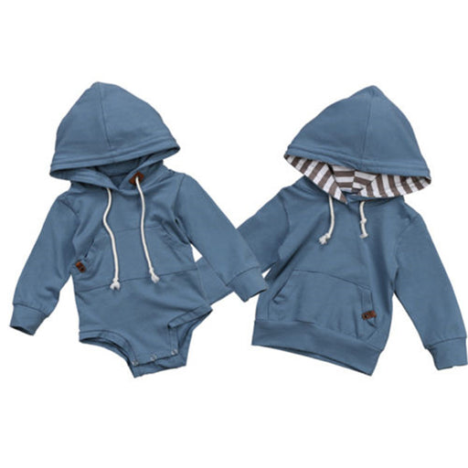 Cute Baby Boys Romper Hot Newborn Baby Boy Warm Long Sleeve Hooded Top Romper Hoodie Sweatshirt New Bebes Kids Boy Clothes - KiddyLanes
