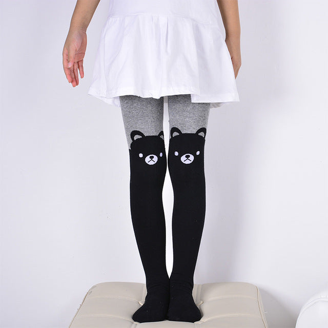 DreamShining Spring Baby Girls Tights Cartoon Cat Patchwork Children Girl Pantyhose Stockings Soft Cotton Kids Warm Tights - KiddyLanes