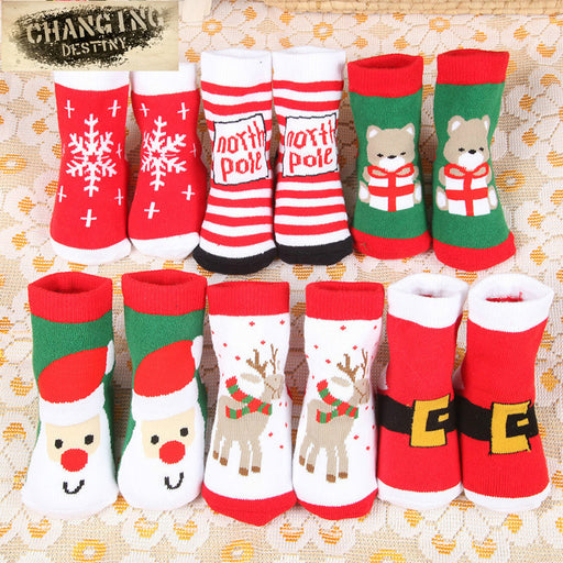 Christmas Themed Children Pure Cotton Cartoon Jacquard Socks Red Christmas Baby Socks Absorb Sweat Permeability Socks (one Size) - KiddyLanes