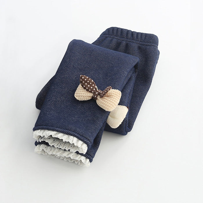MRJMSL Winter Fur Girls Leggings Children trousers Kids Thick Warm Cotton Leggings for Girl Pants bowties butterfly 100~150 - KiddyLanes