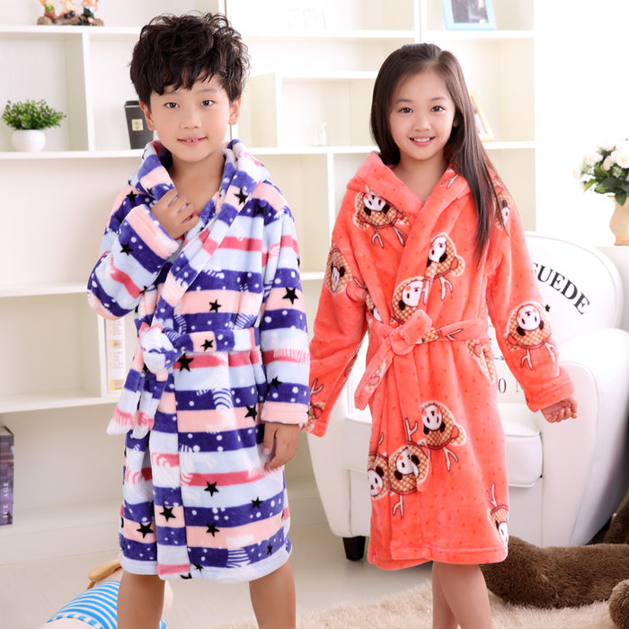 New fashion children bathrobes 6-12years children bathrobes carol fleece winter robes - KiddyLanes