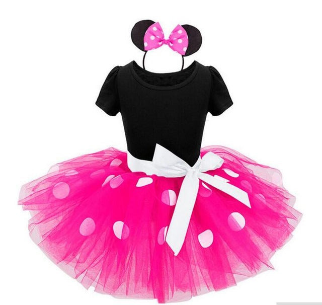 New Years kids Ballet dress princess party costume infant clothing Polka dot baby clothes birthday girls tutu dress Head band - KiddyLanes