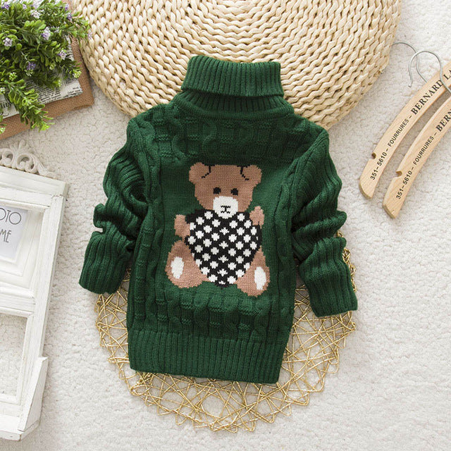 Sundae Angel Casual Boy Girl Sweaters For Kids Long Sleeve Wool Turtleneck Cartoon Pattern Spring Autumn&Winter Girls Sweater - KiddyLanes