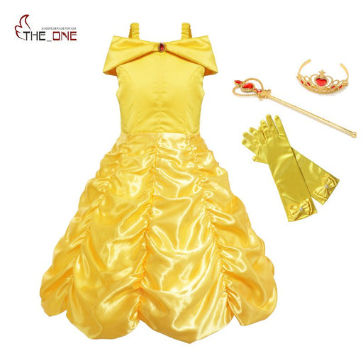 Kids Sleeveless Yellow Party Dress | Baby Girl Ball Gown - KiddyLanes