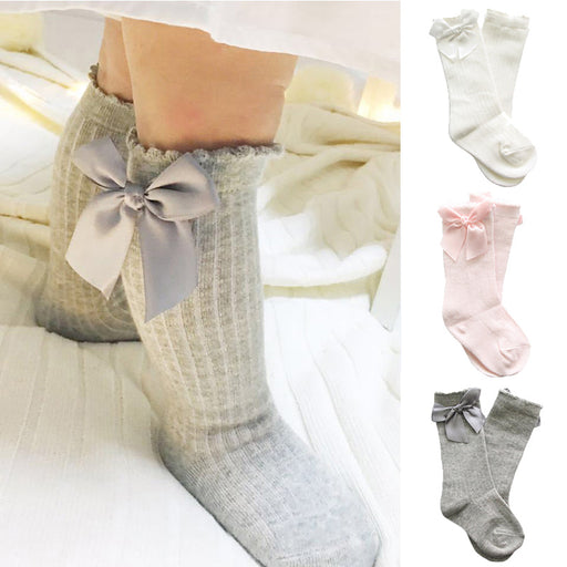 baby girl socks meias infantil Knee High Bows Princess Socks cute Baby Socks Long Tube Booties Vertical Striped sokken Kids Sock - KiddyLanes