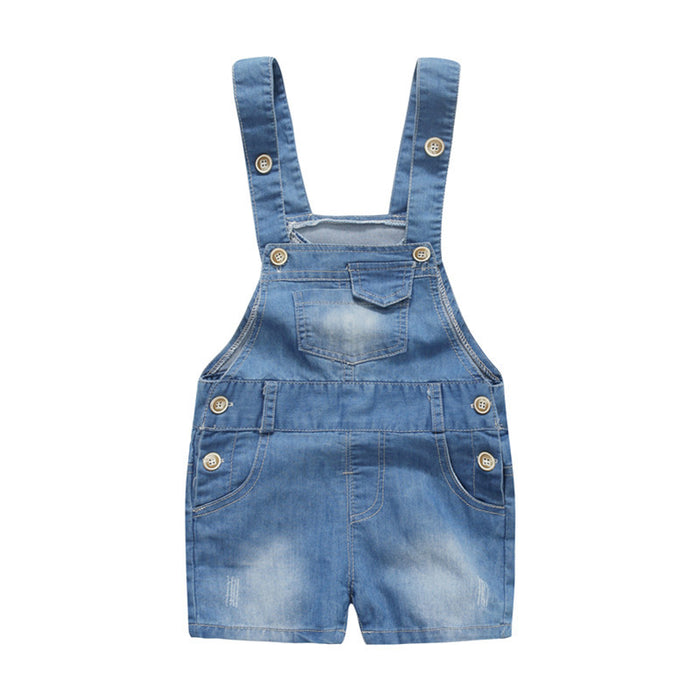 6-24 M Kids Baby Boy Overalls Denim Jeans Casual Summer Toddler Clothes Baby Suspender Shorts Baby Boy Jumpsuit Jeans DQ334 - KiddyLanes