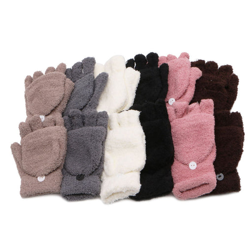Unisex Coral Cashmere Knitted Fingerless Gloves  Winter Soft Warm Mittens Gloves - KiddyLanes