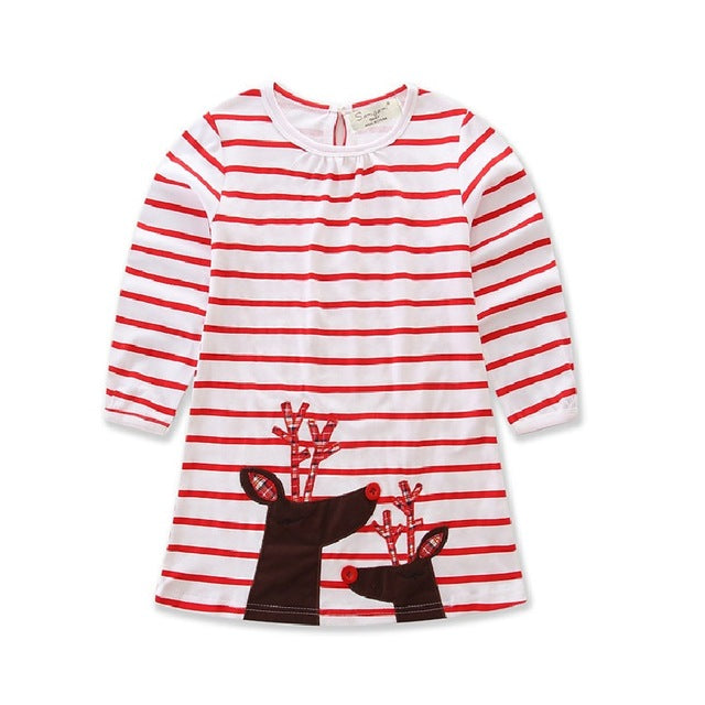 New Christmas dress for girls cotton Striped Long sleeve - KiddyLanes