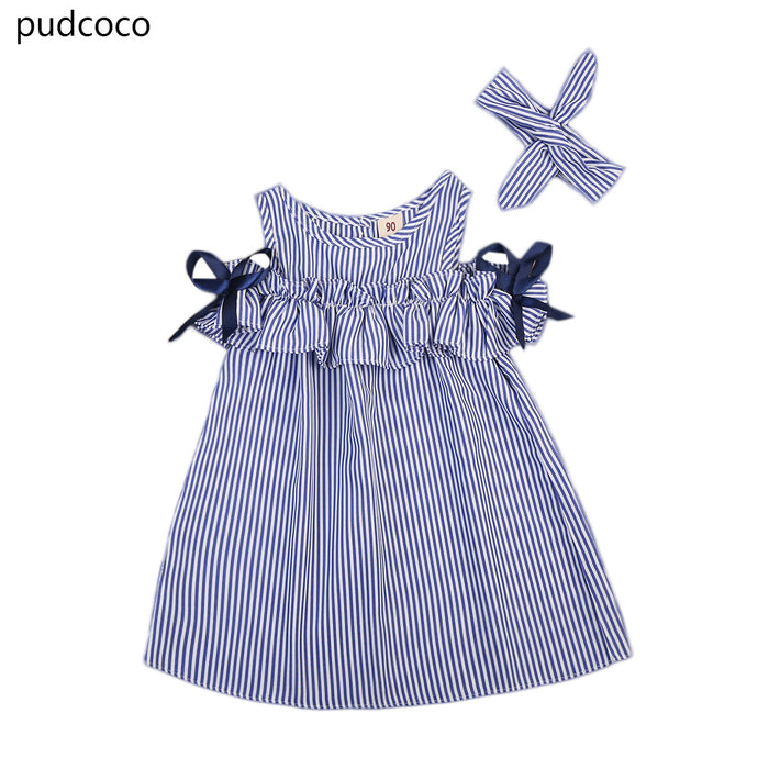 Summer Toddler Kids Baby Girls Dresses Clothes Striped Off-shoulder Ruffles Dress Blue Party Ball Gown Dress Girls Clothing - KiddyLanes