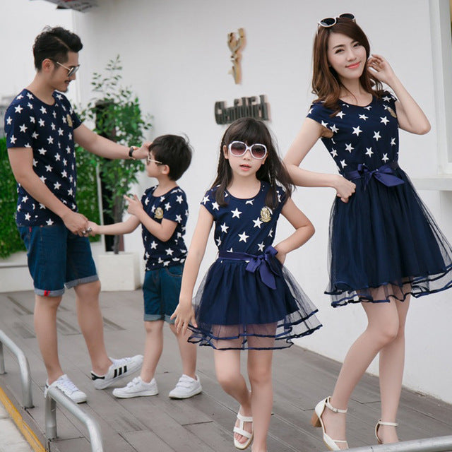 75ff3ba157ab Star Print Family Matching Clothes Father Mother and Daughter Son Summ