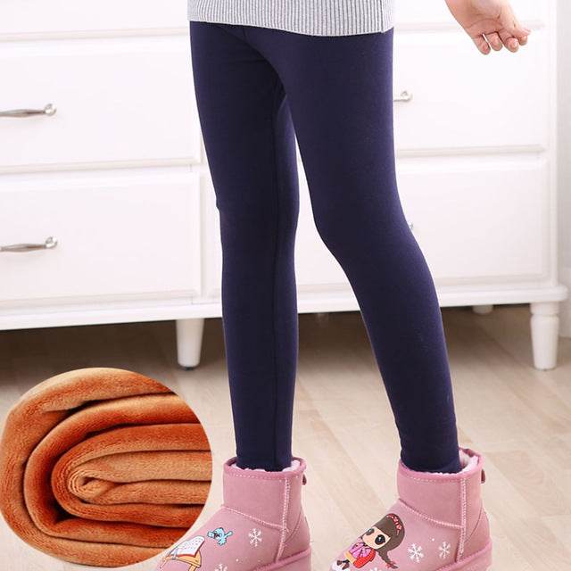 Snow wear top quality winter girls leggings print thick fleece warm children pants elastic waist kids leggings for girls - KiddyLanes