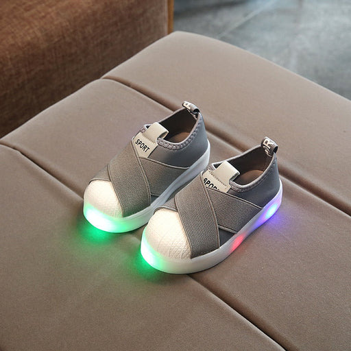Kids LED Sneakers Breathable Luminous Shoes Cross Flaps
