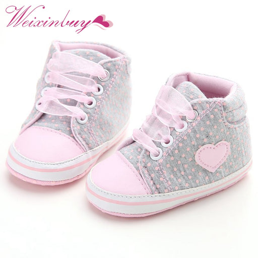 Infant Newborn Baby Girls Polka Dots Heart Autumn Lace-Up First Walkers Sneakers Shoes Toddler Classic Casual Shoes - KiddyLanes