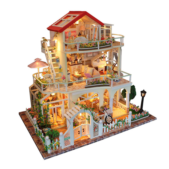 The Universe DIY Dollhouse With Music Light Cover Miniature Model Best Gift For Children