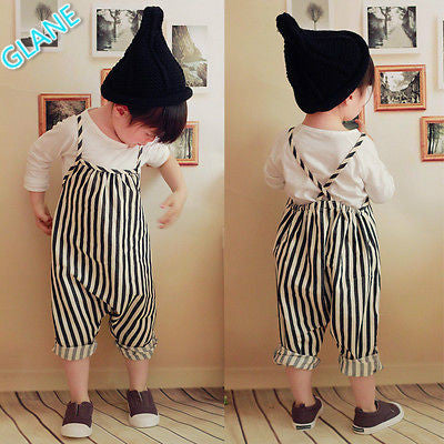 96c029b1f Unisex New Baby Girls Harem Pants Boys Kids Striped Trousers Romper Ov
