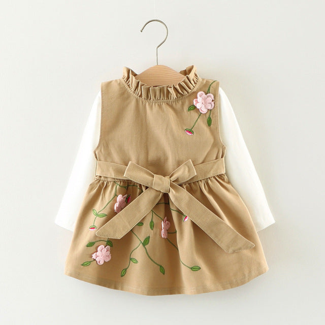 Fashion Autumn Girls Long Sleeve Baby T-shirt+Flower Vest Tank-Dresses Party Kids Princess Infants Dress Vestido 2pcs Sets S5534 - KiddyLanes