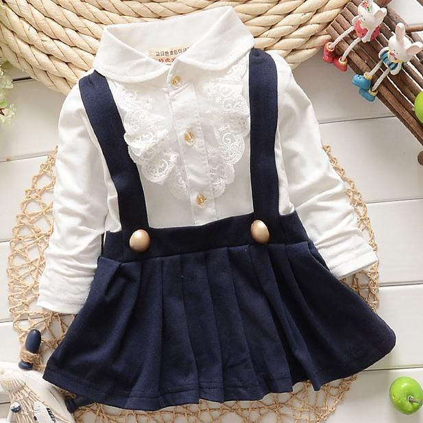 2015 new autumn winter lace patchwork girls dress faux 2pcs kids clothes baby trap dress cute long sleeve baby girl dress - KiddyLanes