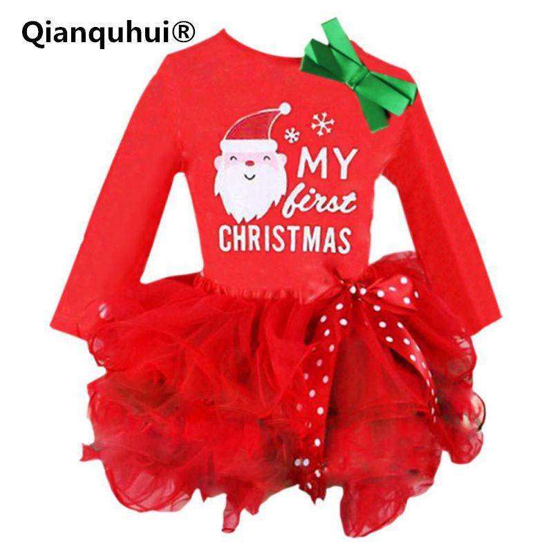 Qianquhui New Year Kids Baby Girls Santa Claus Letter Princess Party Dress Christmas Outfits Clothes Infant Gifts Dress For Girl - KiddyLanes