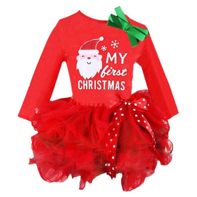 23c4e5f0a Qianquhui New Year Kids Baby Girls Santa Claus Letter Princess Party Dress  Christmas Outfits Clothes Infant