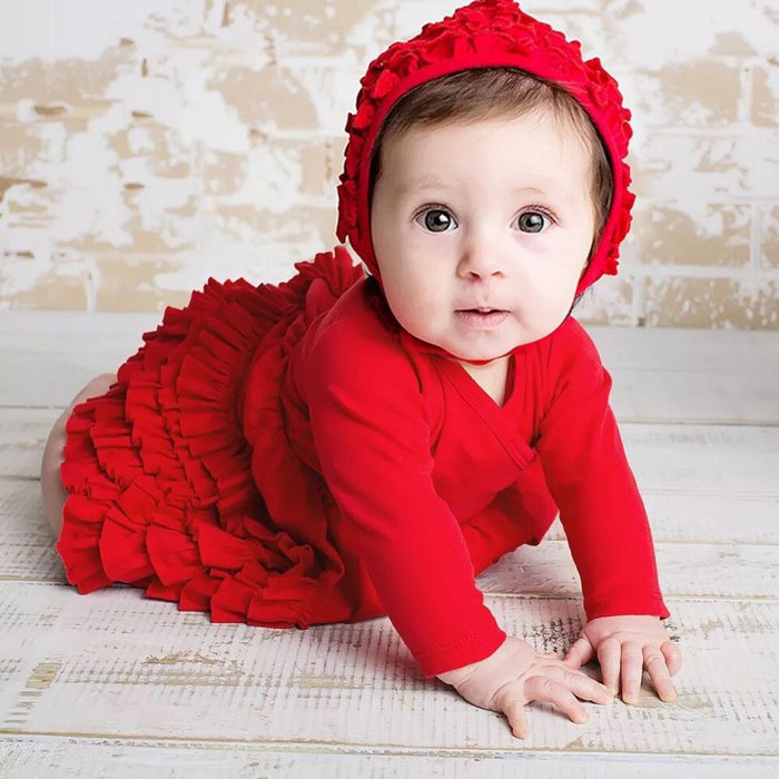 Baby Girl Winter Dress Thick Air Cotton Princess Style Baptism Dress with Hat For Baby Girl - KiddyLanes